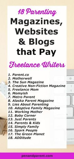 Jumpstart Your Freelance Writing Career. Stop writing for free. 18 Parenting Publications that pay writers good money. Click through to read. Make Money Writing, Make Money Blogging, Writing Tips, How To Make Money, The Sun Magazine, Freelance Writing Jobs, Working Mother, Best Blogs, Parenting Advice