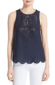 Joie 'Encycllia' Sleeveless Linen Eyelet Top available at #Nordstrom