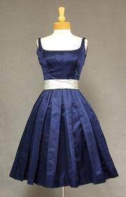 Saks Fifth Navy & Sky Blue Satin 1960's Cocktail Dress