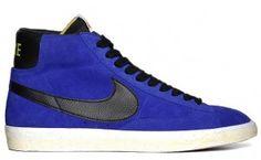 Punti Vendita Nike Blazer Mid Vintage PRM Suede Fall 2012 Scarpe Sportive Donne Blu Nero Gialle Elettrico In Vendita