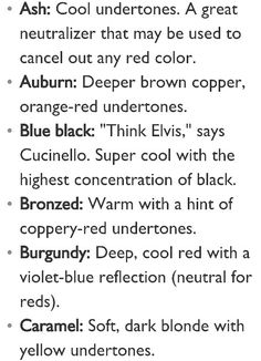 Hair color description