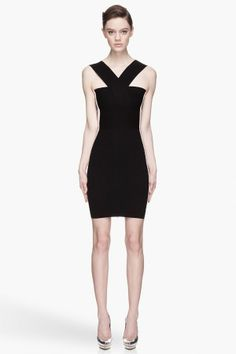 Mcq Alexander Mcqueen Black And White Knit Bandage Dress