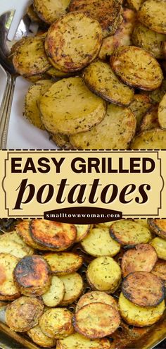 The perfect side dish for dinner and all your BBQ fare! Your family will love these easy Grilled Potatoes flavored with simple spices you have on hand. Enjoy while hot and crispy! Save this summer grilling recipe! Foil Potatoes On Grill, Bbq Potatoes, How To Cook Potatoes, Summer Grilling Recipes, Barbecue Recipes, Grilling Ideas, Summer Recipes, Baked Ribs, Smoking Recipes