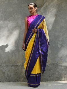 Yellow Blue Handwoven Silk Saree