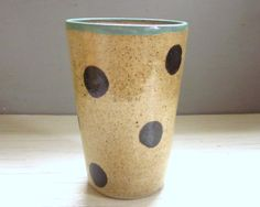clay tumbler polka dotted pottery cup ceramic large -16 oz - made to order on Etsy, US$24.00