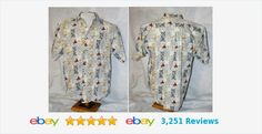 LARGE button front s/s shirt with compass points & sailboats  #hawaiian