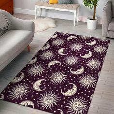 Moon Sun Celestial Pattern Print Home Decor Rectangle Area Rug Trendy Colors, Vivid Colors, Rectangle Area, Sun Moon, Floor Rugs, Print Patterns, Pattern Print, Indoor Outdoor, Weave