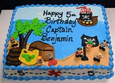 127 Pirate Themed Birthday Sheet Cake
