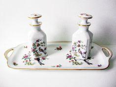 Vintage AJCO Limoges Porcelain Dresser Vanity Set Or Cruet Set With Tray