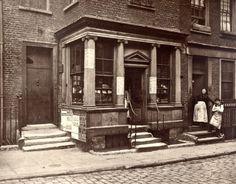 photograph of a shop in Macclesfield St, Bishopsgate, London in 1883.