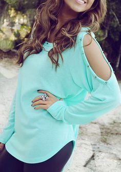 Green Plain Cut Out Rivet Off Shoulder Long Sleeve Oversized Casual T-Shirt