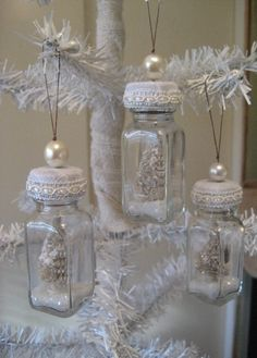 ^INSPIRATION…Shabby Chic Bottle Ornaments from old salt and pepper shakers – This is a set of four darling ornaments made from vintage bottl...