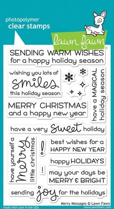 Mix and match these sentiment stamps with all of your holiday stamp sets. Stamp them on the inside of your cards to add a little extra love! Made with care in the USA!