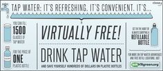 Save money and the environment by drinking tap water #gotap Water Signs, Atlantis, Plastic Bottles, Drinking Water, Save Yourself, Saving Money, Something To Do, How To Find Out, Environment