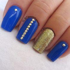 Blue Nails Inc. London Nail Lacquers over pins Hot Nails, Hair And Nails, Blue Gold Nails, Gold Glitter, The Art Of Nails, Studded Nails, Nails Inc, Cute Nail Designs, Art Designs