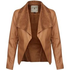 Tan Leather-Look Waterfall Jacket ($46) ❤ liked on Polyvore featuring outerwear, jackets, coats, coats & jackets, casacos, tan, synthetic leather jacket, tan jacket, cowboy jacket and western jacket