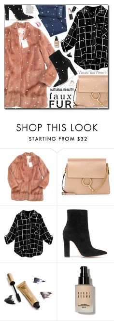 """""""Faux Fur Coat"""" by adnaaaa ❤ liked on Polyvore featuring Urbancode, Chloé, Gianvito Rossi, Jane Iredale, Bobbi Brown Cosmetics, Sigma and fauxfurcoats"""