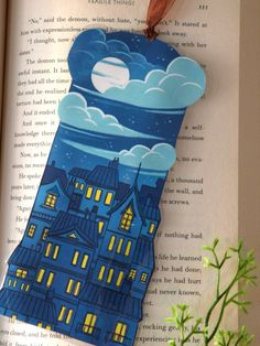 Mark your book with a little piece of art! Large Art/Illustrated bookmark of a city and the moon at night it is printed on high quality paper for a vibrant and colourful finish this bookmark is carefully cut out into shape for a unique artistic touch! it also comes equipped with a