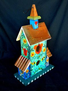 Spring Tulips Birdhouse With Pennsylvania Dutch by KrugsStudio