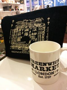 The official @shopgreenwich mug and denim wash bag. Available at @ThingsBritish @TurnpinLane