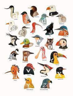 # birds, alphabet, illustration, painting, water color