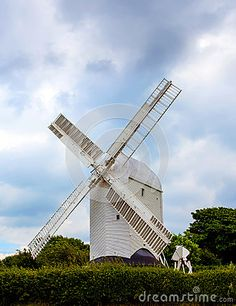 An antique windmill called Post Mill in Clayton West Sussex known as Jill.