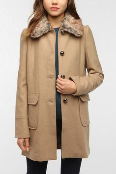 Pins and Needles Faux Fur Collar Wool Coat. It also looks quite nice in black of course. The reason I would want it is because it reminds me of Margot Tenenbaum's coat.