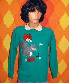 vintage 80s sweatshirt collar golf SQUIRREL nuts applique rhinestone raglan crewneck Small Medium humor kawaii. $55.00, via Etsy.