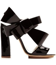 Delpozo Patent-Leather Bow-Detail Sandals