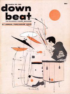 March 1961 illustration for the cover of Downbeat jazz magazine - artist David Stone Martin. Musik Illustration, Retro Illustration, Francis Wolff, David Stone, Drums Art, Jazz Poster, Jazz Club, Jazz Art, Pochette Album