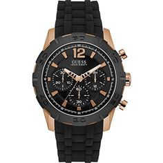 Guess Caliber Men's Chronograph Rose Gold-tone and Black Strap Watch. This men's Guess Caliber watch is the perfect hybrid of sporty functionality and sharp style. It features a black chronograph dial which pops with rose golden accents. Gents Watches, Watches For Men, Latest Watches, Nice Watches, Casual Watches, Wrist Watches, Herren Chronograph, Black Bracelets, Inspirational Gifts