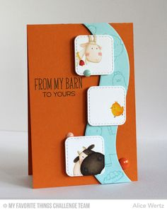 My Favorite Things Wednesday Sketch Challenge - (MFT stamps/dies: BB The Whole Herd; Inside & Out Stitched Rounded Square STAX; Ride the Wave). like layout with curve). Kids Cards, Baby Cards, Paper Smooches, Mft Stamps, Animal Cards, Cards For Friends, Card Maker, Card Sketches, Card Tags