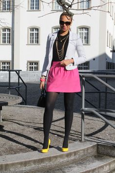 candy colors on a sunny winter's day // jacket: @H&M / skirt: @· ZARA · / shoes: @Ivanka Trump