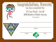 Brownie WOW! Wonders of Water Journey Certificate