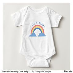 I Love My Mommy Cute Baby Lion Baby Bodysuit