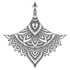 Illustration of Henna tattoo flower template. Set of ornamental patterns in the oriental style. Design Tattoo, Mandala Tattoo Design, Henna Tattoo Designs, Simple Mandala Tattoo, Mandala Sternum Tattoo, Body Art Tattoos, Sleeve Tattoos, Mehndi Style, Henne Tattoo