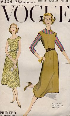 Vogue 9304 1950s Misses Dress and Jumper Dress and Skirt womens vintage sewing pattern by mbchills