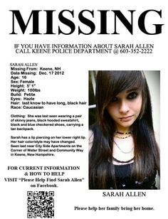 Missing Persons of America - Latest news and information: Sarah Allen, Missing Person New Hampshire, Found by police and returned home (UPDATE Found Safe) Missing Love, Missing Child, Missing Persons, Sarah Allen, Amber Alert, Bring Them Home, Cold Case, Have You Seen, Together We Can