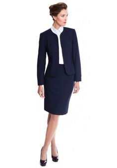 Women's navy skirt suit made from pure wool | The Catharine by NOOSHIN