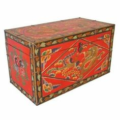 AsiaEXP Tibetan Storage Trunk with Painted Chinese Dragons by AsiaEXP. $464.00. Complement your home interior design with this antique style Tibetan coffee table chest, entirely handcrafted from wood and exquisitely hand-painted. Store games, linens, books, or anything else you can imagine inside this beautiful trunk while using the top as a traditional coffee table. Hand-painted by Tibetan artisans to look antique, all sides of this crimson trunk feature a black border sur...