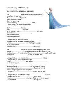 "Song Lyrics Worksheet ""Let it Go"" Listening English, English Reading, English Study, English Lessons, Teaching English, Learn English, English Activities, Music Activities, Teaching Activities"