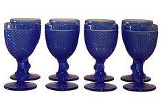 Cobalt Pressed Glass Goblets, S/8 on OneKingsLane.com