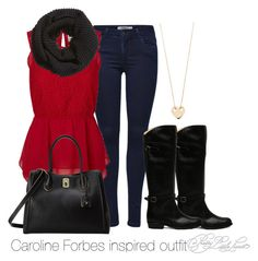 """""""Caroline Forbes inspired outfit/TVD"""" by tvdsarahmichele ❤ liked on Polyvore featuring ONLY, Vero Moda, Frye, London Fog, H&M and Ginette NY"""