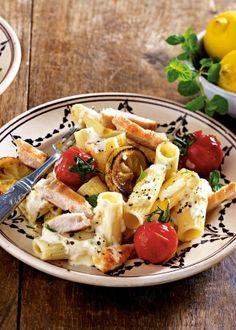 Pasta mit Zitronensoße und Hähnchen Rezept