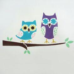 Owls on a Branch Wall Art Stencil - Cutting Edge Stencils