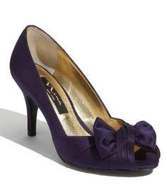 purple peep toe pumps