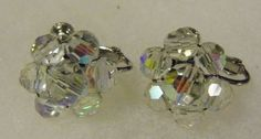 Vintage Screw On Clip On Earrings Glass Bead Iridescent Costume Fashion Jewelry in Jewelry & Watches, Vintage & Antique Jewelry, Costume, Retro, Vintage Earrings Faceted Crystal, Crystal Beads, Glass Beads, Crystals, Screw Back Earrings, Clip On Earrings, Dangle Earrings, Antique Jewelry, Vintage Jewelry