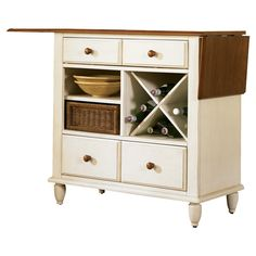 Buffet with wine rack.