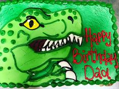 T-Rex sheet cake Animal Cakes, T Rex, Dads, Birthday, Fictional Characters, Animals, Fathers, Animales, Birthdays