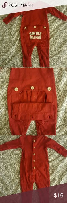 Baby Santa's Helper Pajamas Osh Kosh B'gosh. Baby Santa's Helper Pajamas. Classic Red with white letter. Buttons down the front. Three buttons on the bottom back. Bottom opens if desired. Like new. Perfect for photos. Osh Kosh Pajamas